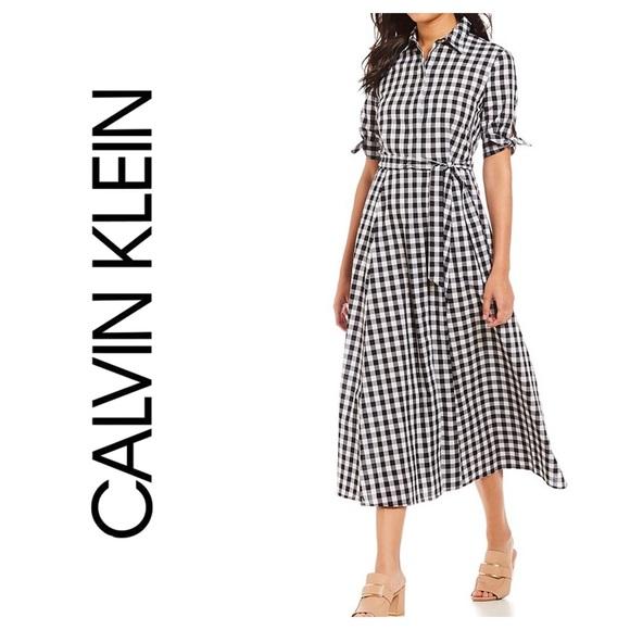 545f9553b1f02 NEW CALVIN KLEIN GINGHAM TIE SLEEVE MAXI DRESS